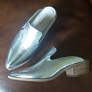 Chinese Laundry Silver Metallic Mules